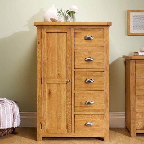 Woburn Oak Wooden 1 Door 5 Drawer Wardrobe
