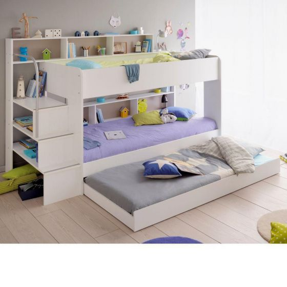Bibop White Wooden Bunk Bed with Underbed Trundle