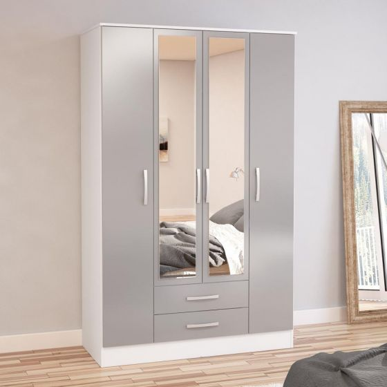lynx-white-and-grey-4-door-2-drawer-wardrobe-with-mirror