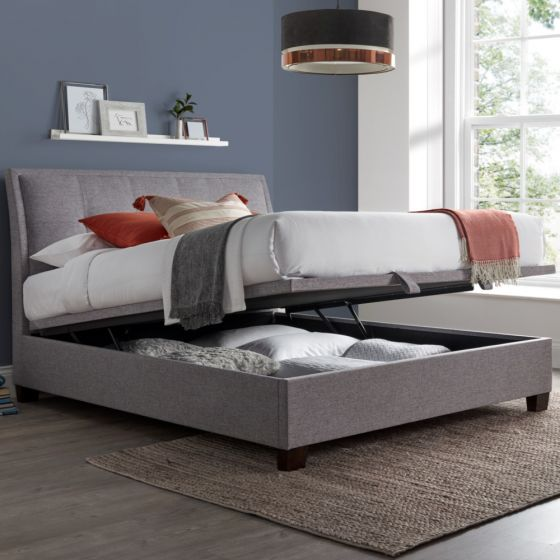 Accent Light Grey Fabric Ottoman Storage Bed