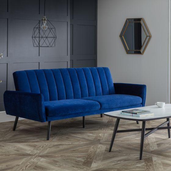 Afina Blue Velvet Fabric Sofa Bed