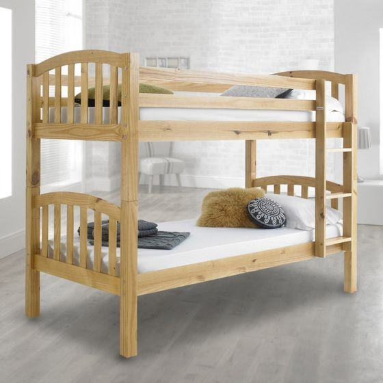 American Solid Honey Pine Wooden Bunk Bed from £199.99