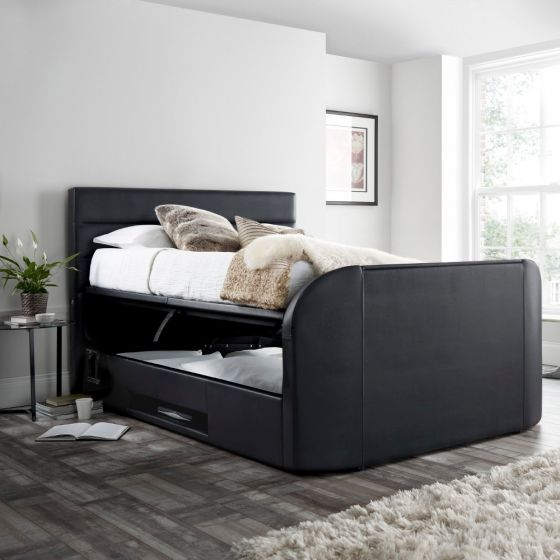 Annecy Black Leather Ottoman Media TV Bed