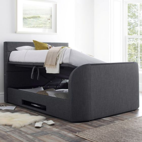 Annecy Slate Grey Fabric Ottoman TV Bed