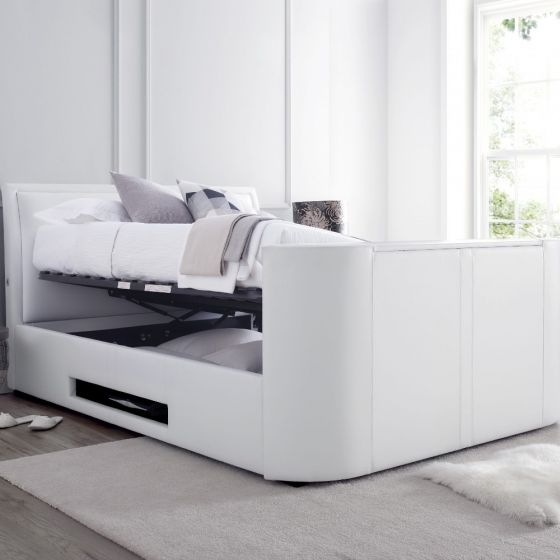 Ardwick White Leather Ottoman Media TV Bed