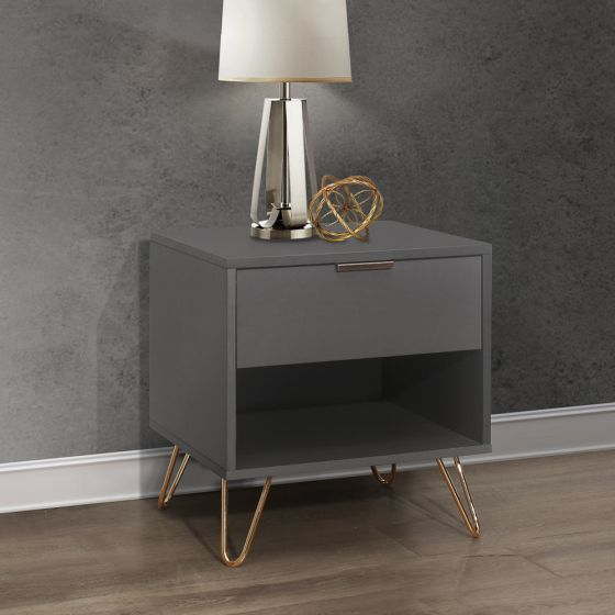Arlo Charcoal Wooden 1 Drawer Bedside Table