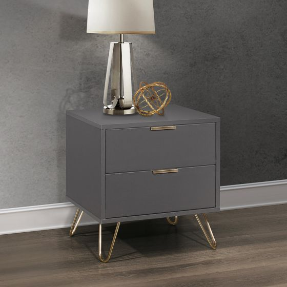 Arlo Charcoal Wooden 2 Drawer Bedside Table