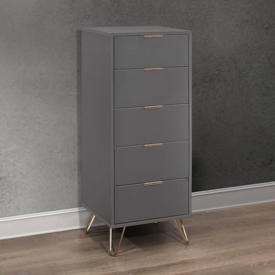 Arlo Charcoal Wooden 5 Drawer Chest