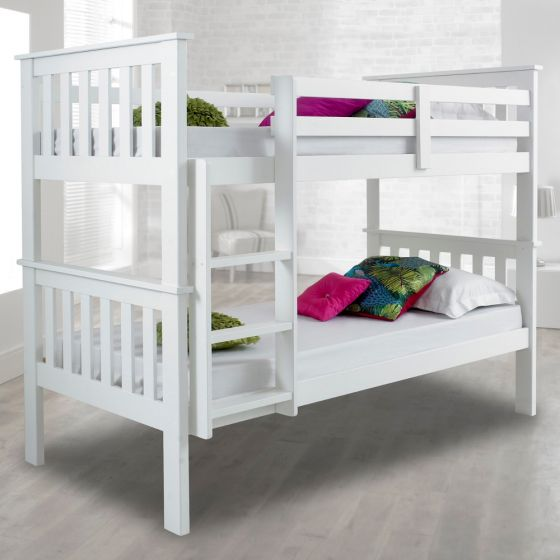 Atlantis White Finish Solid Pine Wooden Bunk Bed Frame - 3ft Single