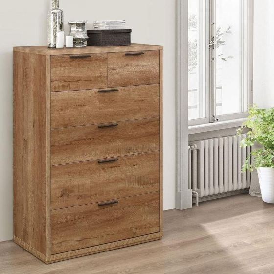 Stockwell Rustic Oak Wooden 4 + 2 Drawer Chest