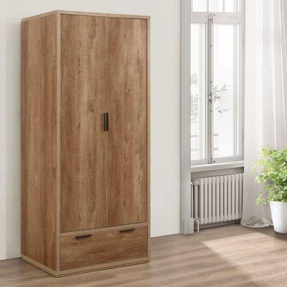 Stockwell Rustic Oak Wooden 2 Door Combination Wardrobe