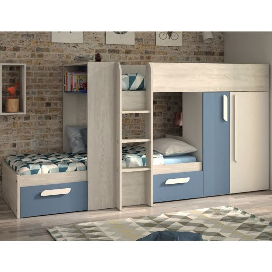 Barca Blue and Oak Wooden Bunk Bed