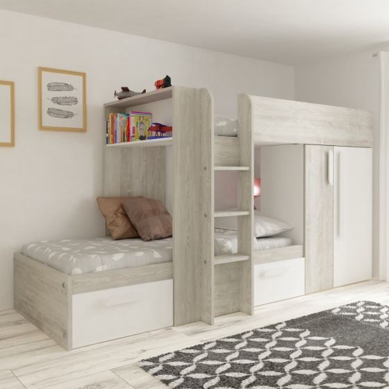 Barca White and Oak Wooden Bunk Bed