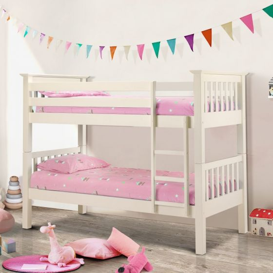 Barcelona Stone White Finish Solid Pine Wooden Bunk Bed