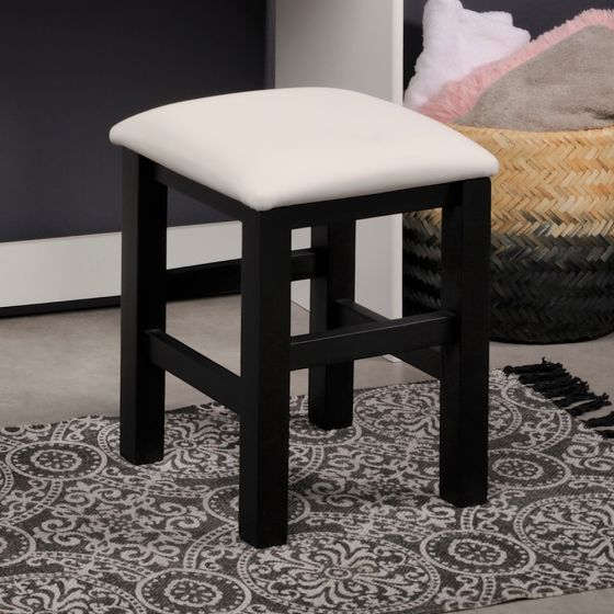 Beauty Bar Dressing Table Stool Black and White