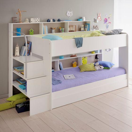 Bibop White Wooden Bunk Bed with Underbed Storage Drawer