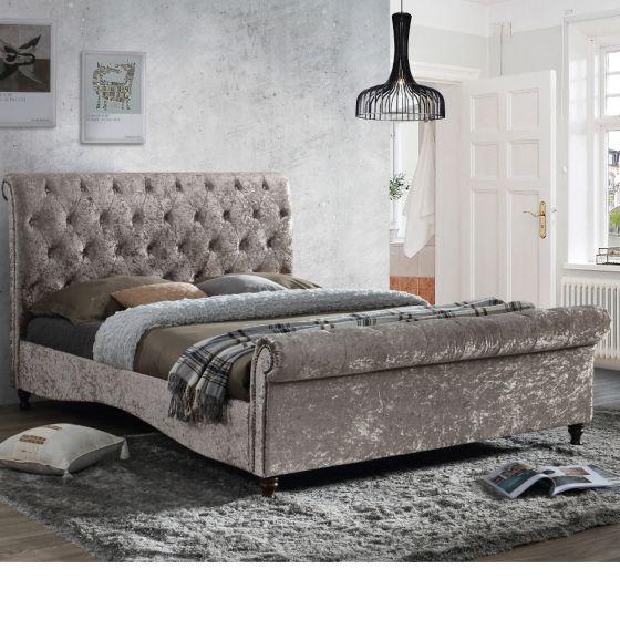 Brighton Oyster Fabric Scroll Sleigh Bed