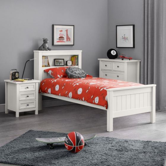 Maine White Wooden Bookcase Bed