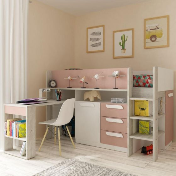 Girona Pink and Oak Wooden Mid Sleeper