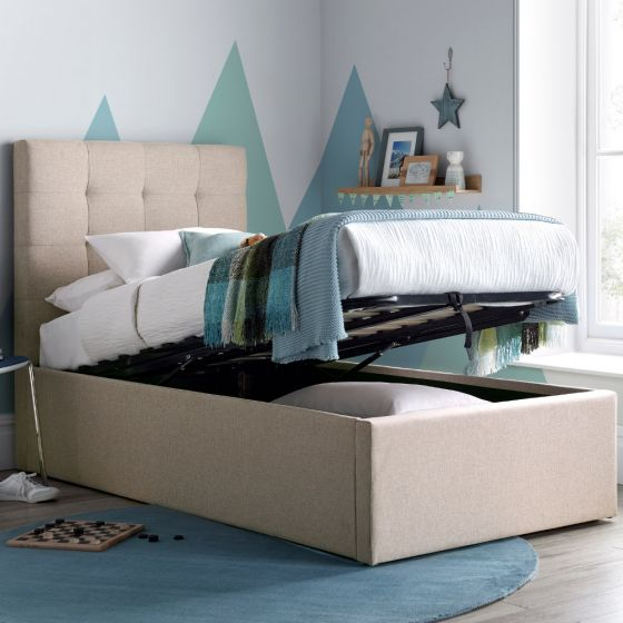 Candy Oatmeal Fabric Ottoman Bed