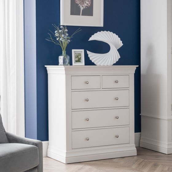 Clermont White Wooden 3+2 Drawer Chest