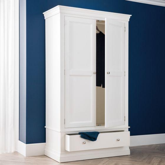 Clermont White Wooden Combination Wardrobe