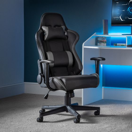 Comet Grey Leather Gaming Chair