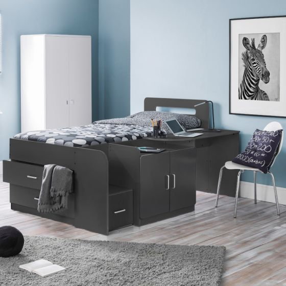 Cookie Anthracite Wooden Cabin Bed