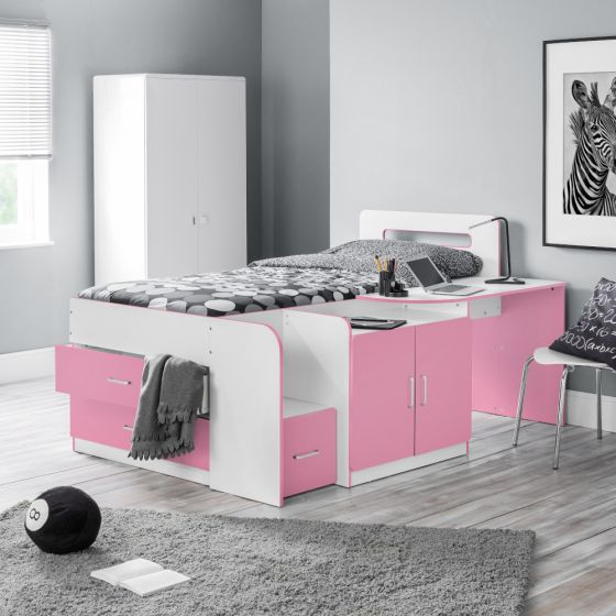 Cookie Pink and White Wooden Cabin Bed