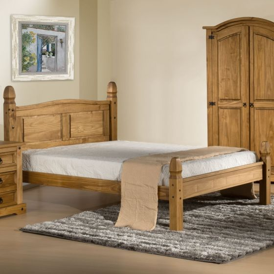 Corona Low Foot End Waxed Solid Pine Wooden Bed Frame - 5ft King Size