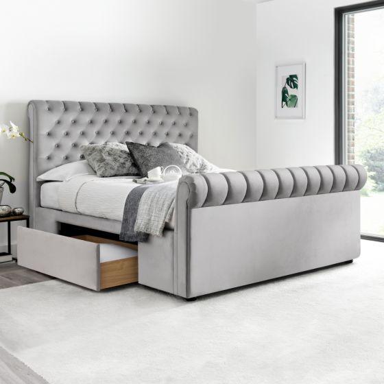 Deacon Grey Velvet Fabric 2 Drawer Sleigh Bed