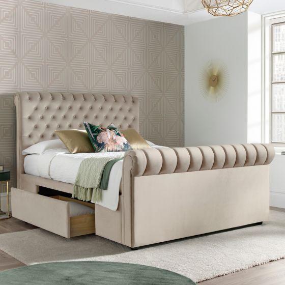 Deacon Warm Stone Velvet Fabric 2 Drawer Sleigh Bed