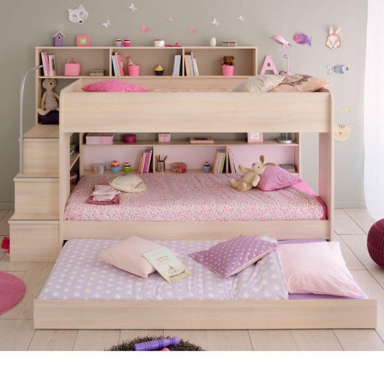 Bibop Acacia Wooden Bunk Bed with Underbed Trundle