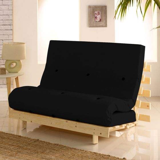 Metro Wooden Folding Guest Futon Black Mattress
