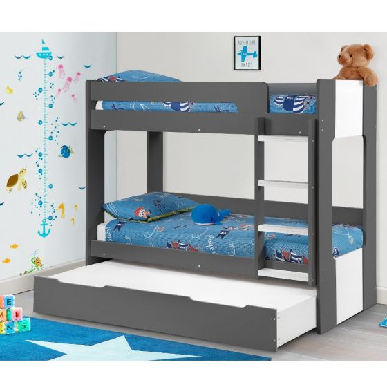 Ellie Grey Wooden Bunk Bed and Trundle Guest Bed/Underbed Storage Drawer