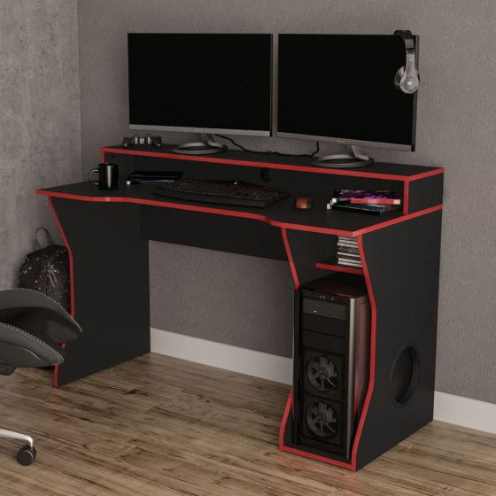Enzo Black and Red Wooden Gaming Desk