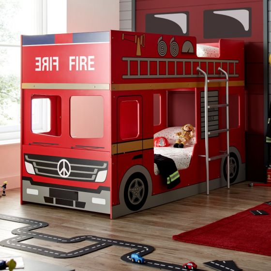 Fire Engine Red Wooden Bunk Bed