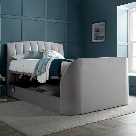 Flintstone Plume Light Grey Velvet Ottoman Electric TV Bed