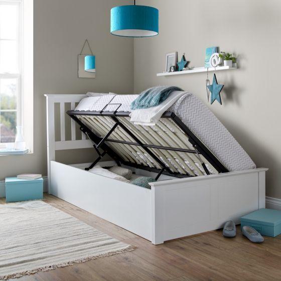Francis White Wooden Ottoman Storage Bed