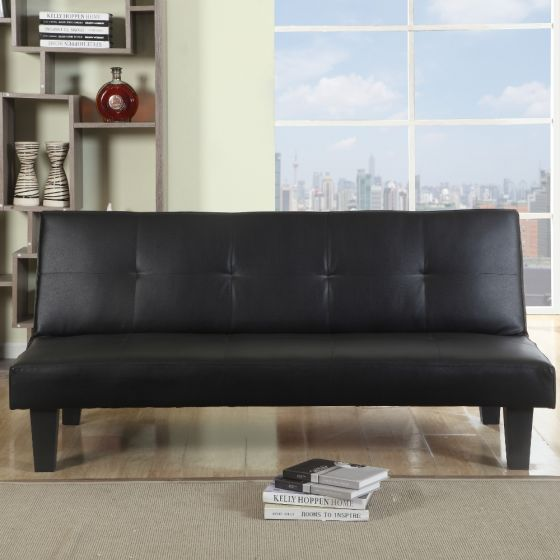 Franklin Black Leather Sofa Guest Day Bed