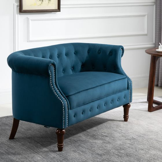 Freya Blue Fabric 2 Seater Sofa