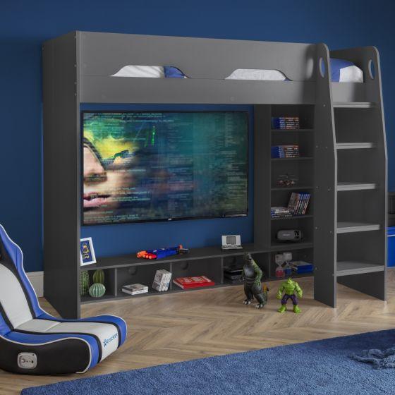 Galaxy Grey Wooden High Sleeper Gaming Bed