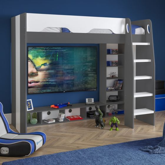 Galaxy Grey and White Wooden Gaming High Sleeper