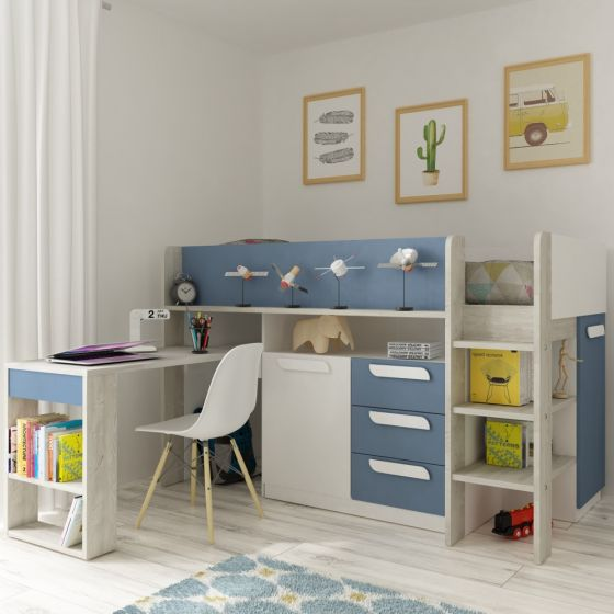 Girona Blue and Oak Wooden Mid Sleeper