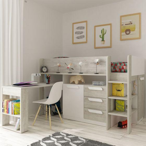 Girona White and Oak Wooden Mid Sleeper