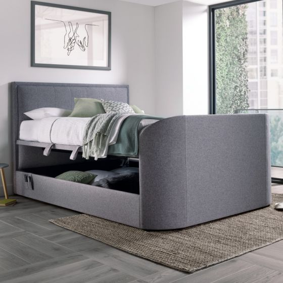 Griffin Light Grey Fabric Ottoman Media Electric TV Bed