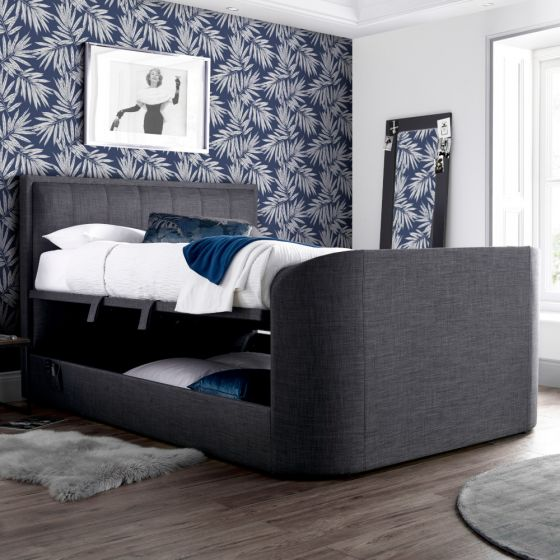 Griffin Slate Grey Fabric Ottoman Media Electric TV Bed