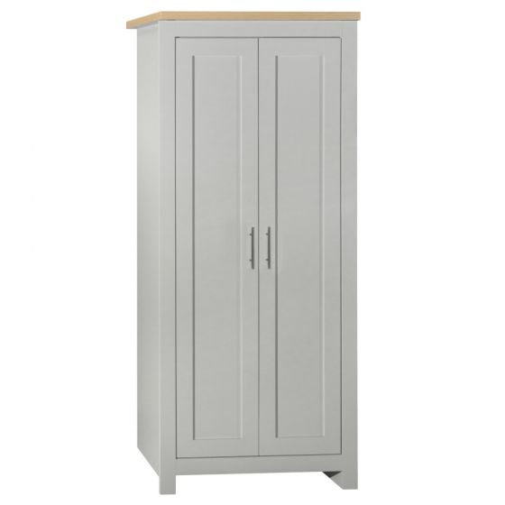 Highgate Grey and Oak Wooden 2 Door Wardrobe