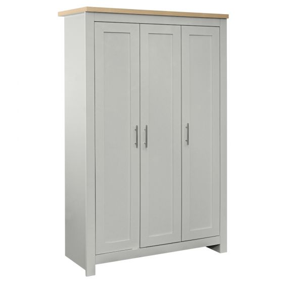 Highgate Grey and Oak Wooden 3 Door Wardrobe