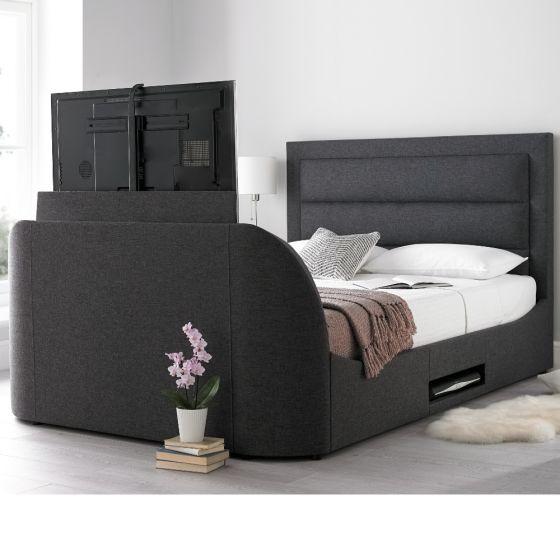 Hollywood Gabon Grey Fabric TV Bed